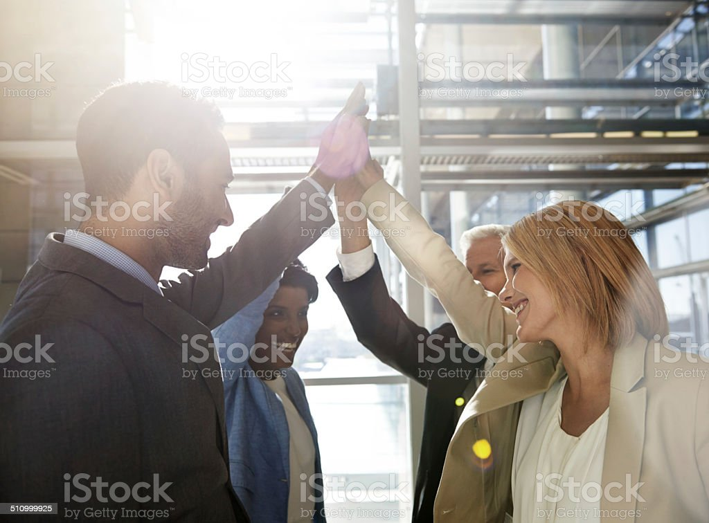 Great job team! stock photo