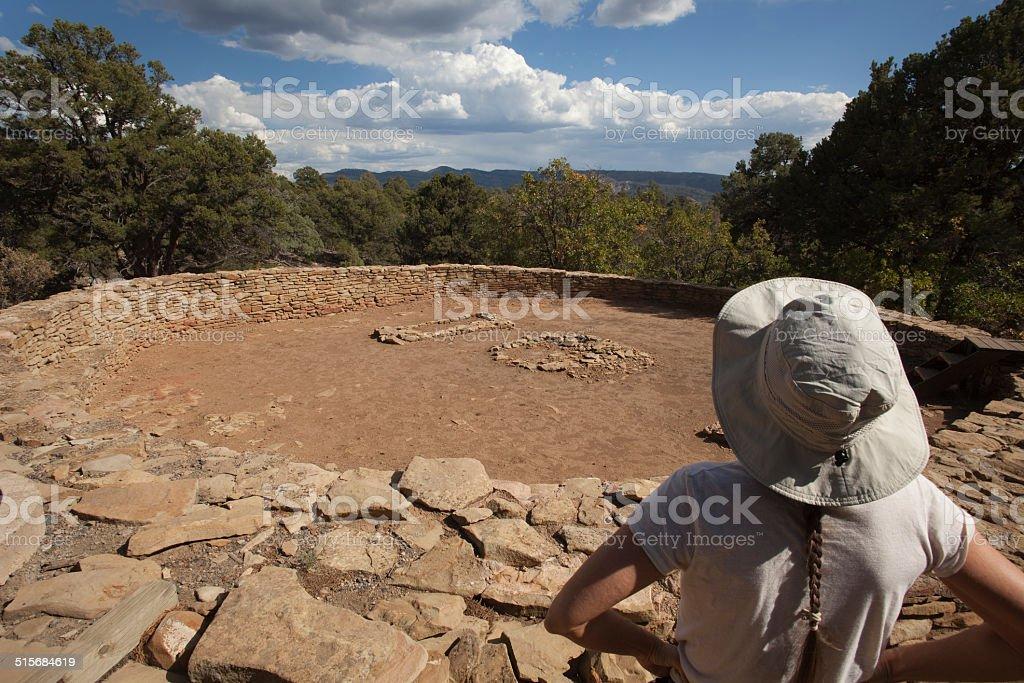 Great Kiva at Chimney Rock National Monument Colorado stock photo