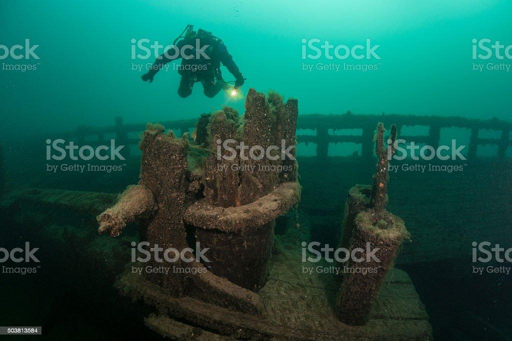 Great Lakes Shipwreck stock photo