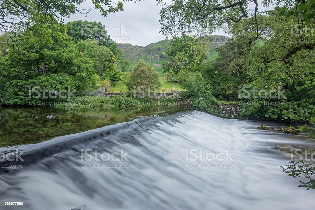 Great Langdale Beck Weir, Elterwater, Lake District National Park stock photo