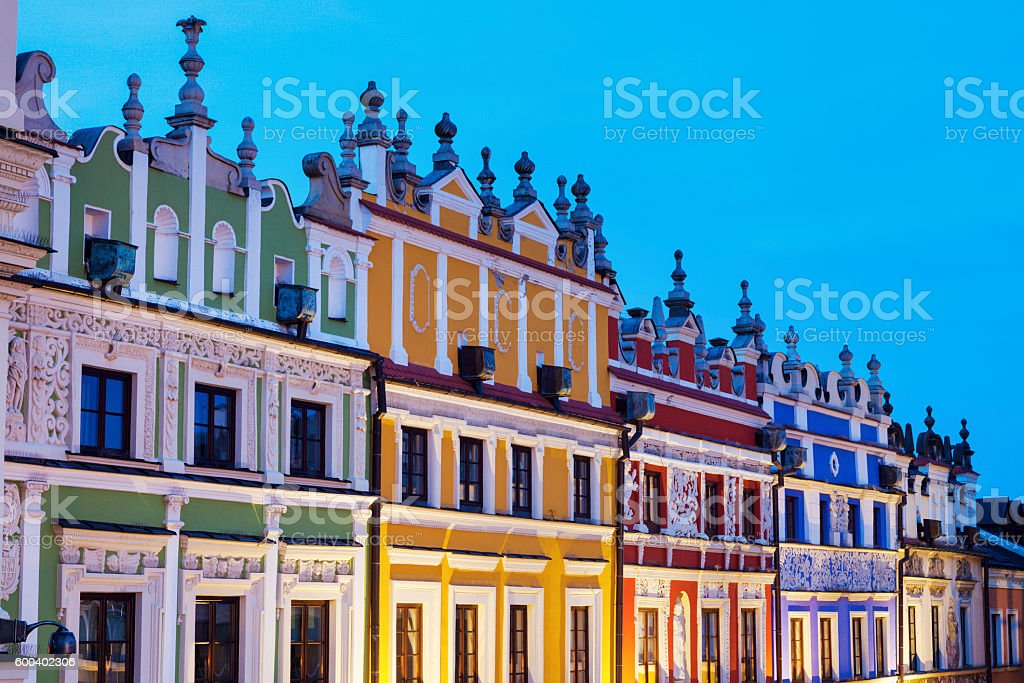 Great Market Square in Zamosc stock photo