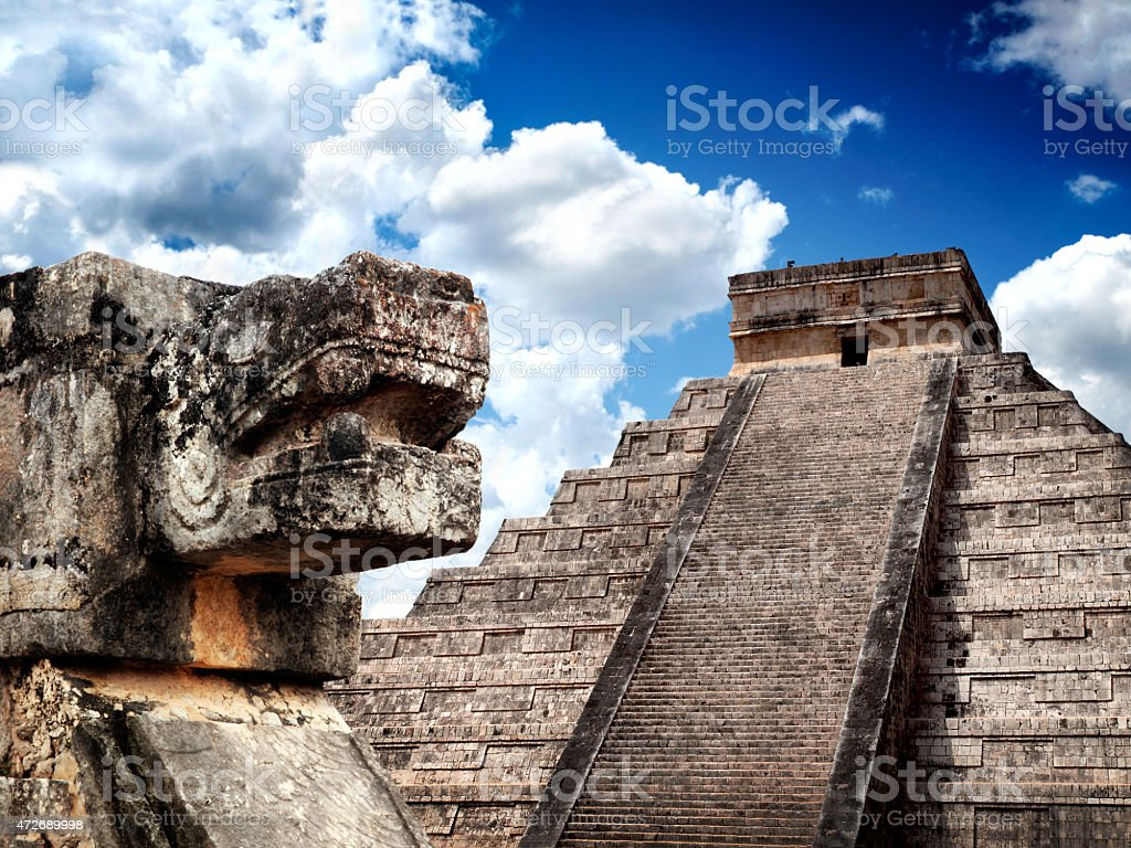 Great Mayan pyramid and sacred snake in Chichen-Itza, Mexico stock photo
