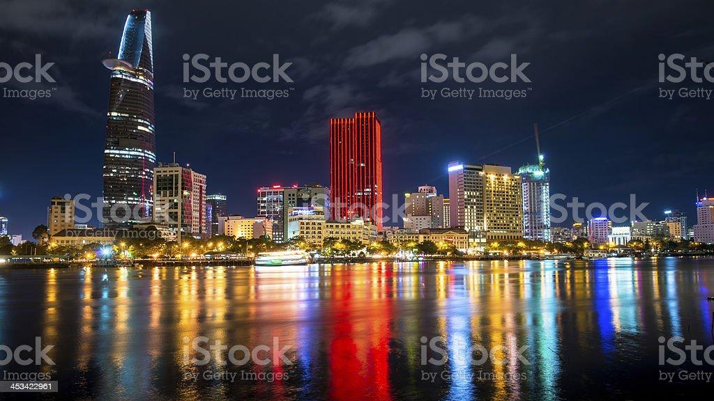 Great Metropolis night shot, Ho Chi Minh city. stock photo