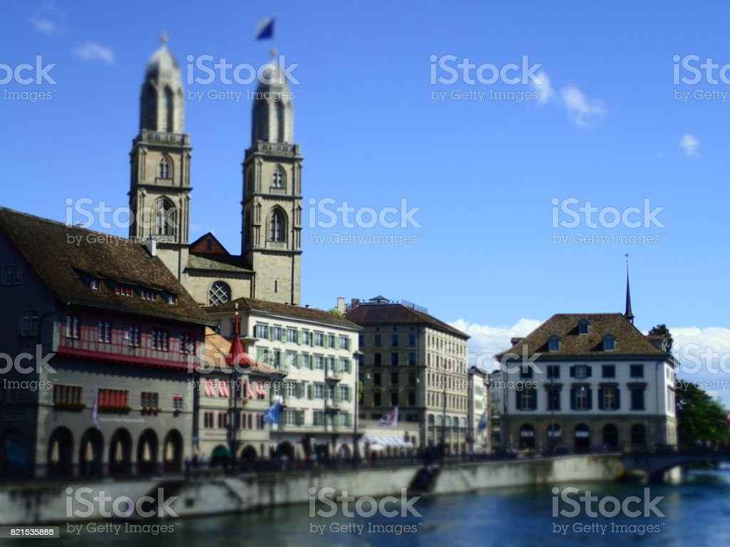 Great Minister in the City of Zurich stock photo