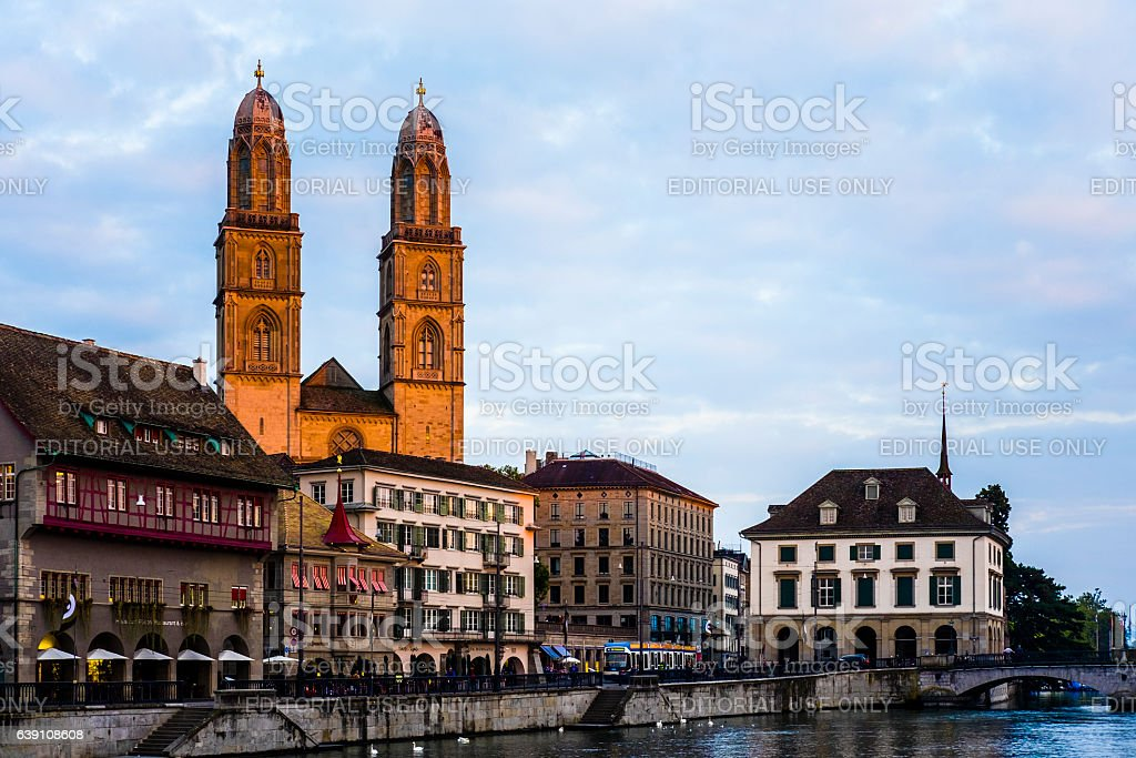 Great Minster and town View of Zurich city. stock photo
