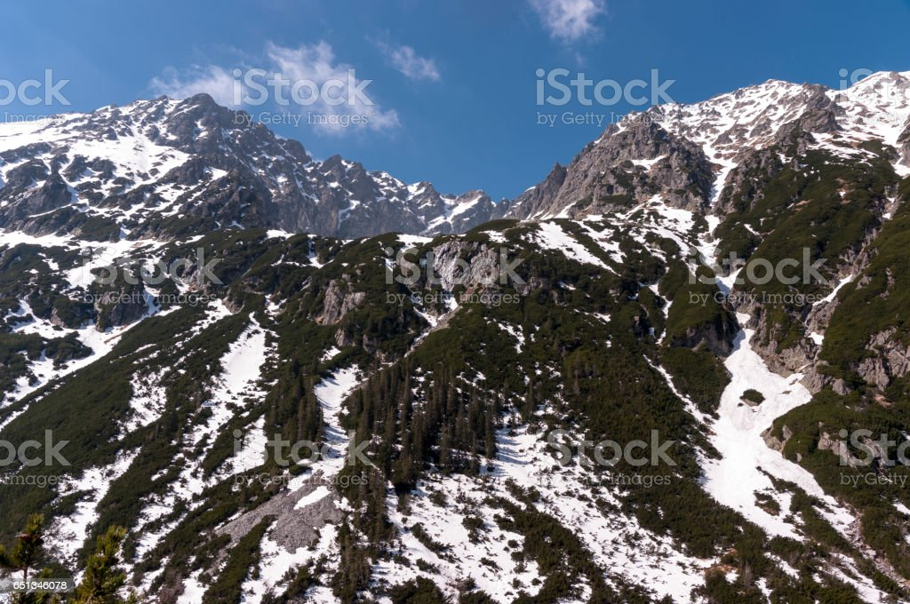 Great mountain peak in spring landscape. High Tatra Mountains. stock photo