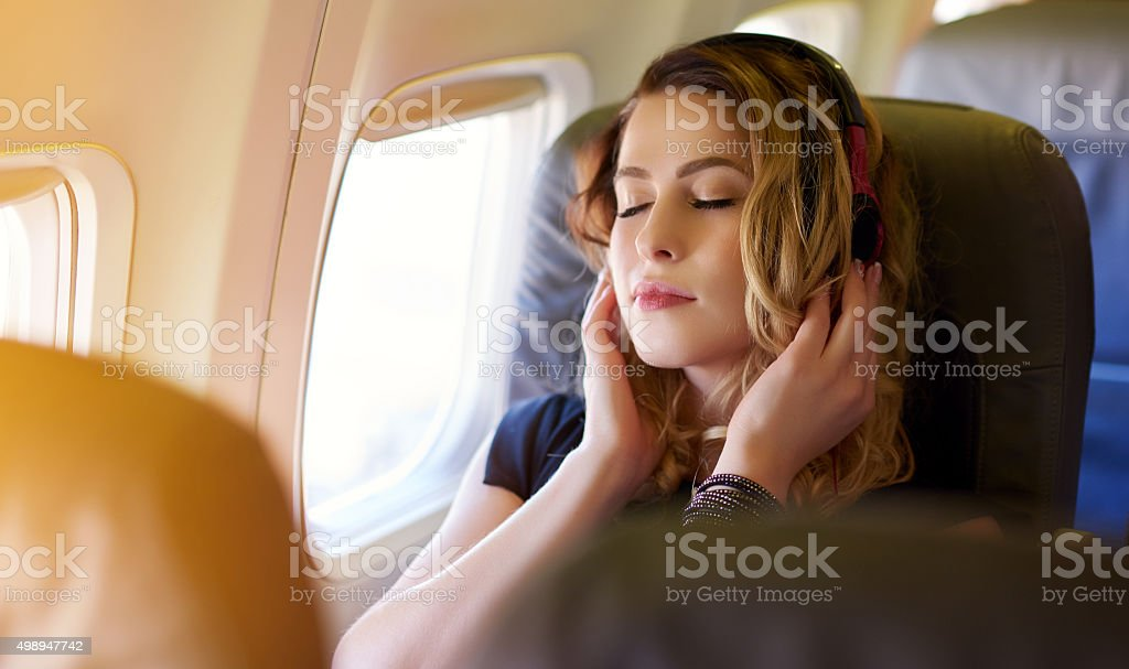 great music in the airplane stock photo