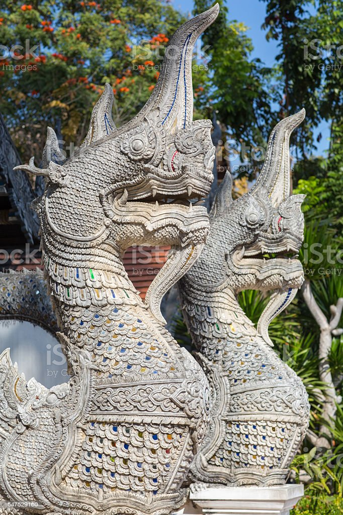 Great naga statues stucco stock photo
