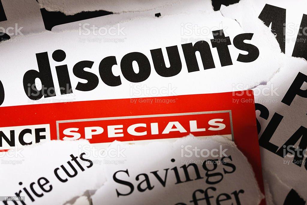 Great news: Press headlines announce discounts! stock photo