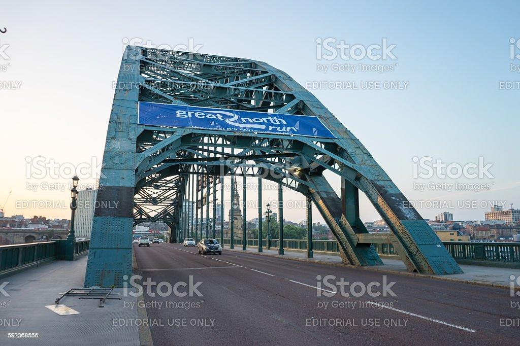 Great North Run sign on Tyne Bridge, sunset stock photo