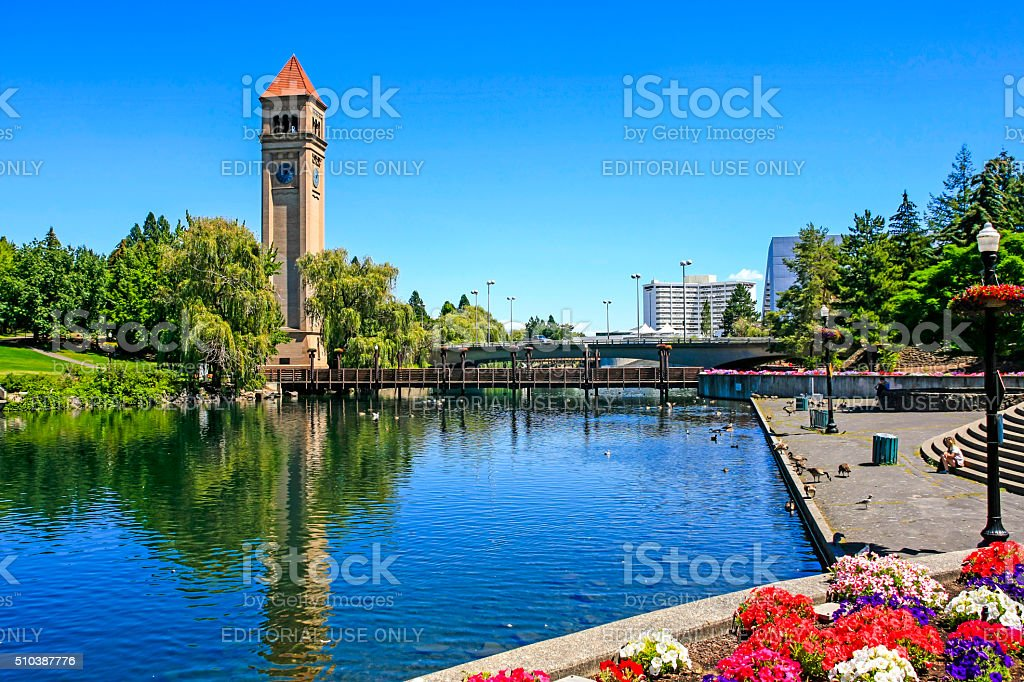 Great Northern clock tower in Riverfront Park, Spokane, Washington stock photo