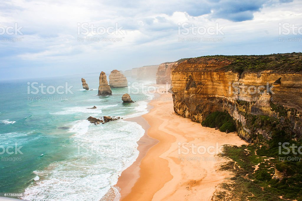 Great ocean road 12 apostles in Australia. stock photo