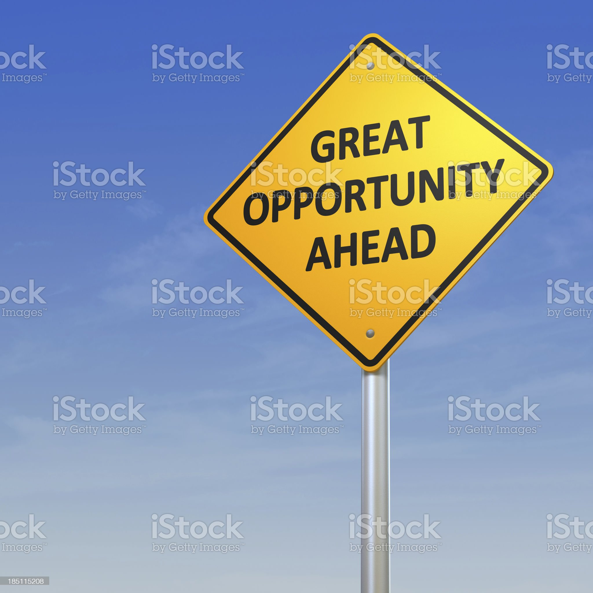 Great Opportunity Ahead Road Warning Sign royalty-free stock photo