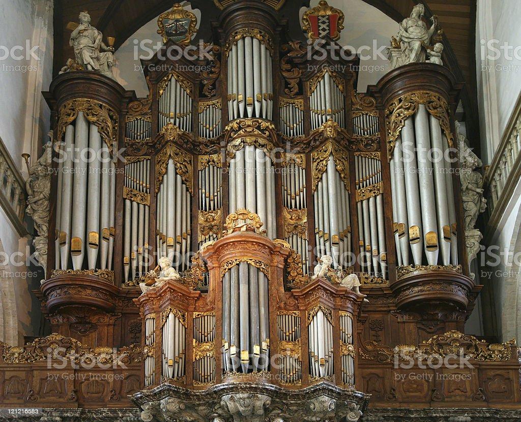 Great Organ in the Old Church, Amsterdam stock photo