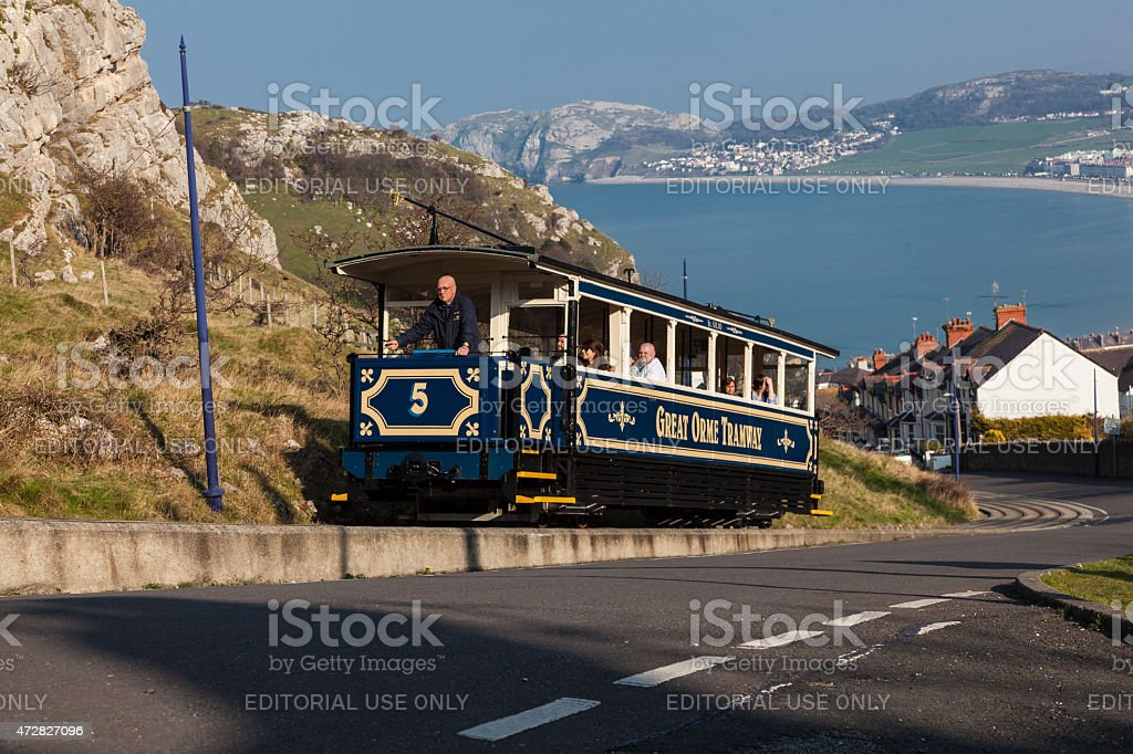 Great Orme Tram No.6 heading up the hill stock photo