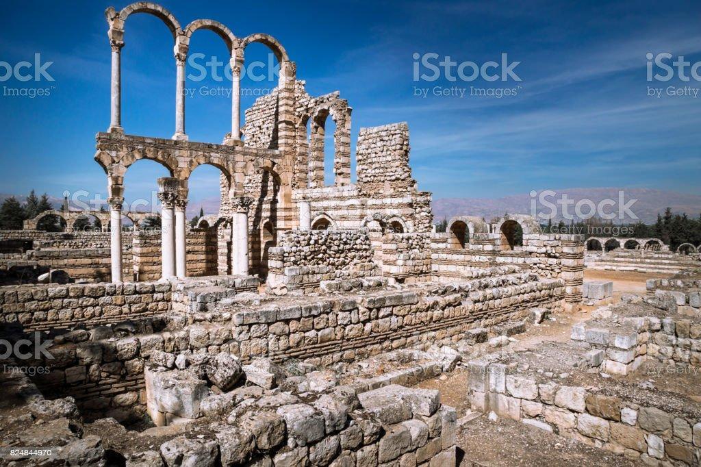 Great Palace of Umayyad Palace at Anjar in Lebanon stock photo