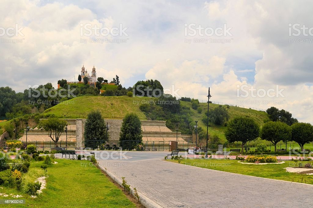 Great pyramid above Cholula with church stock photo