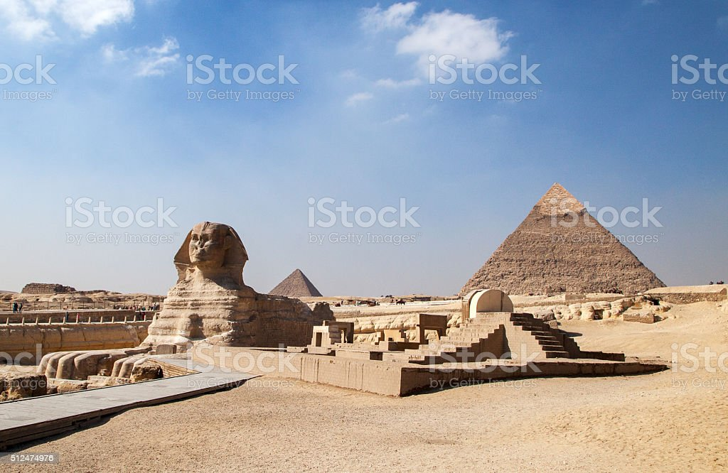 Great Pyramid and Great Sphinx at Giza Plateau stock photo