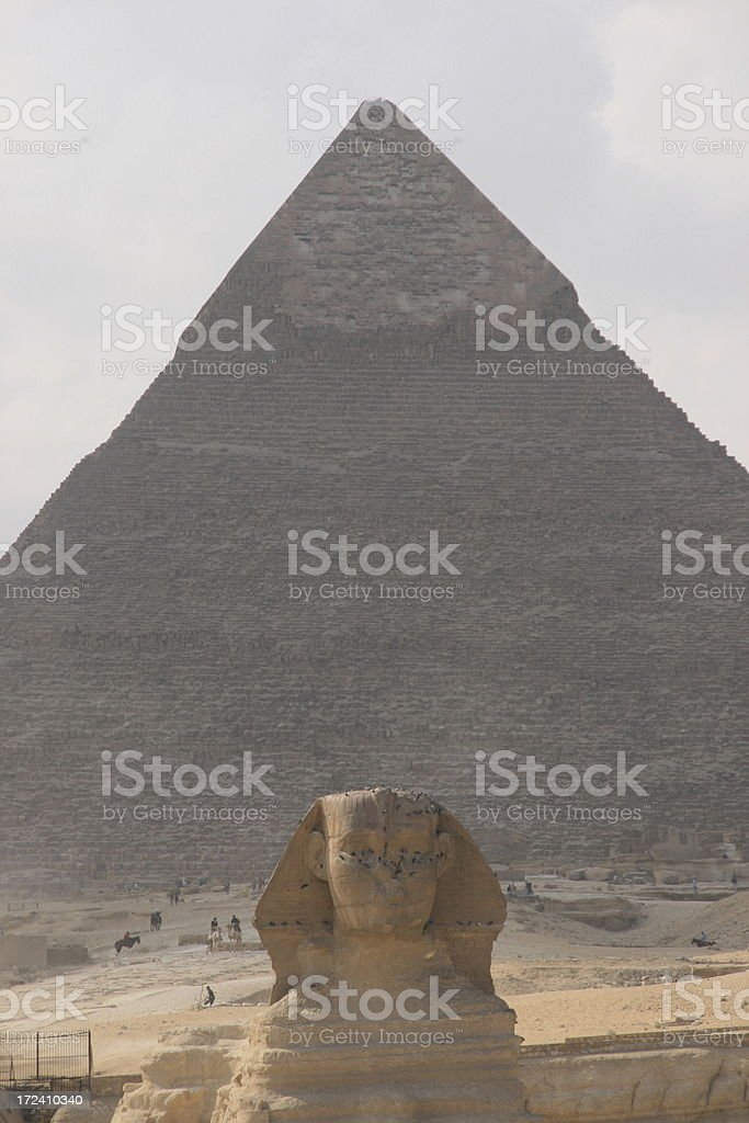 Great Pyramid of Giza and the Sphinx at dawn stock photo