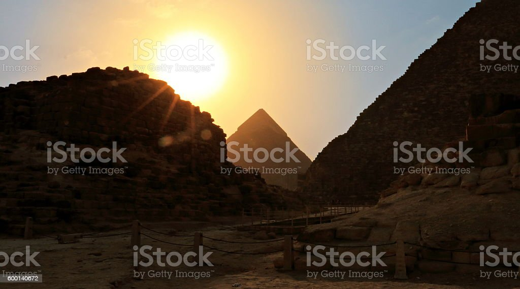 Great Pyramid of Giza in Silhouette stock photo