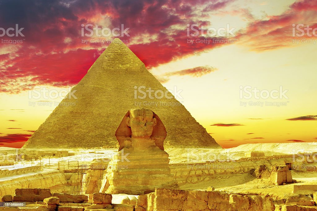 Great Pyramid of Pharaoh Khufu, and the Sphinx. royalty-free stock photo