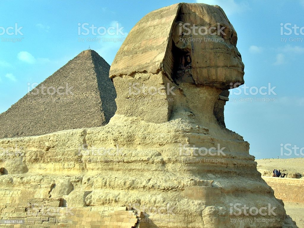 Great Pyramid of Pharaoh Khufu and the Sphinx. stock photo