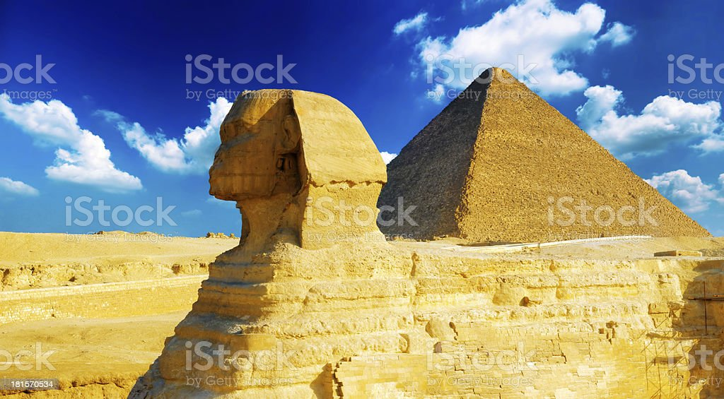 Great Pyramid of Pharaohs and the Sphinx. royalty-free stock photo