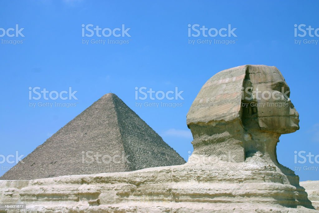 Great Pyramid & Sphinx of Giza royalty-free stock photo