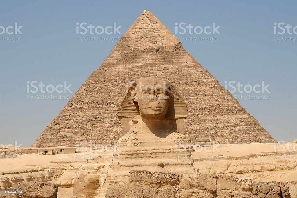 Great Pyramid & Sphinx royalty-free stock photo