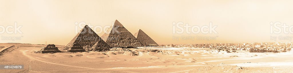 Great pyramids in Giza valley, Cairo, Egypt royalty-free stock photo