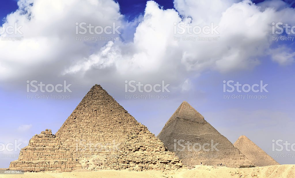 Great Pyramids, located in Giza. Panorama royalty-free stock photo