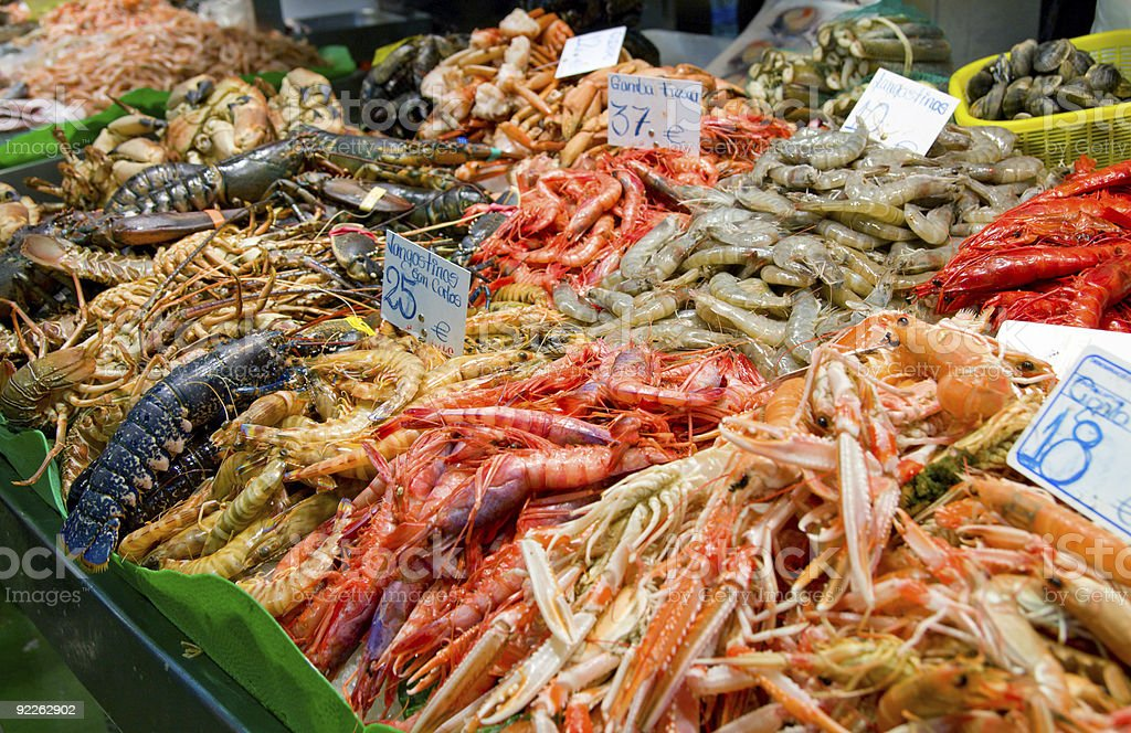 Great quantity of fresh seafood stock photo