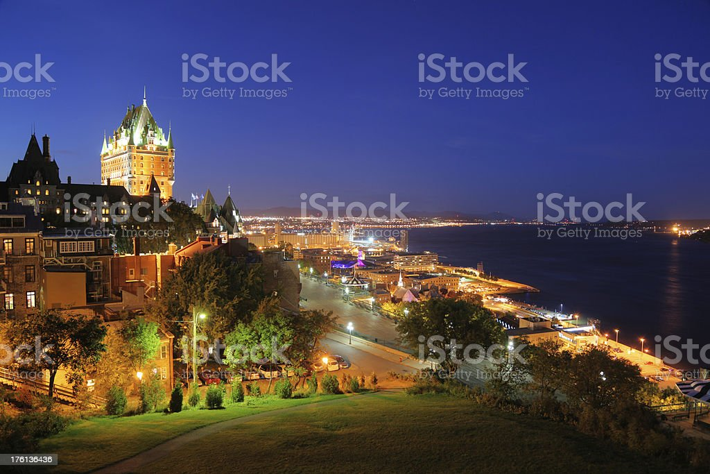 Great Quebec City at Night stock photo