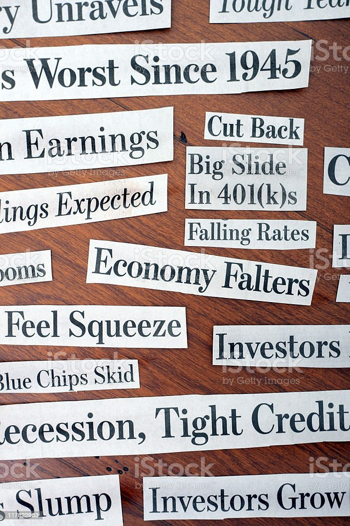Great Recession Headlines - Financial Crisis Newspaper Clippings stock photo