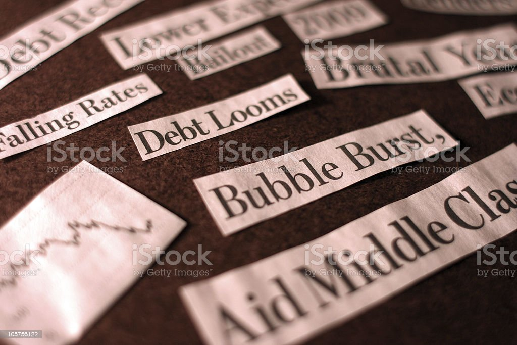 Great Recession Headlines From 2009 - Newspaper Clippings royalty-free stock photo