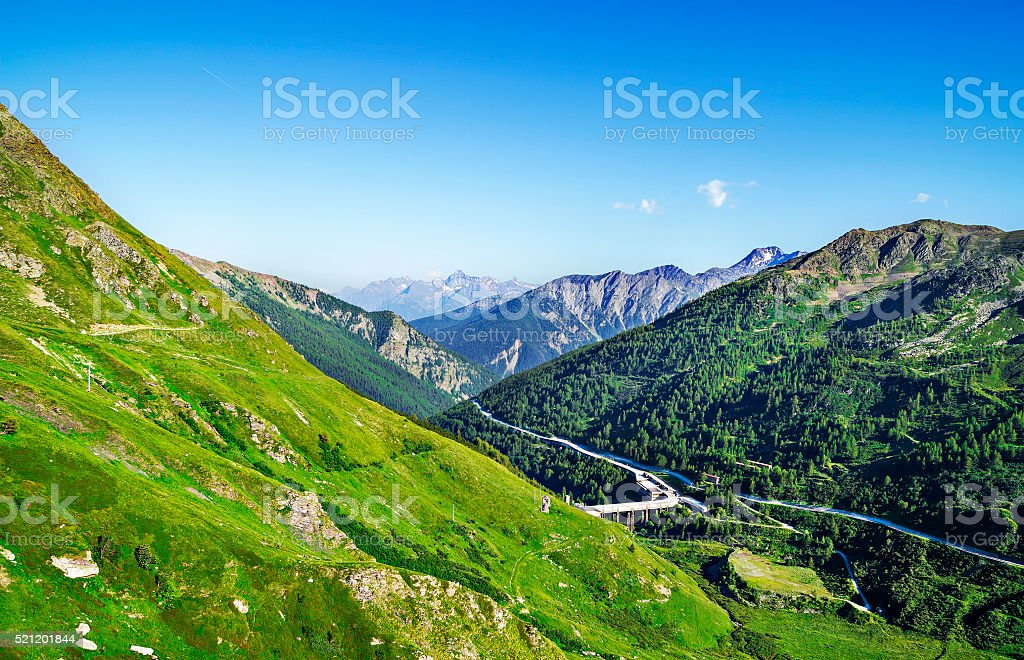 Great Saint Bernard Pass, road along the Aosta Valley stock photo