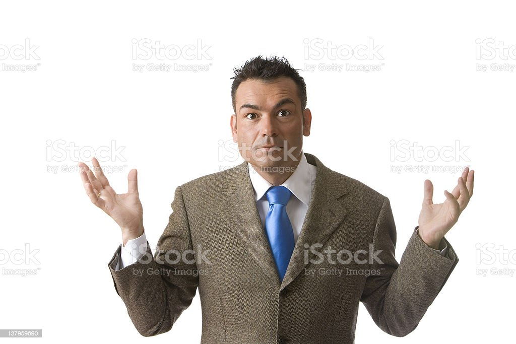 Great salesman with arms up isolated royalty-free stock photo