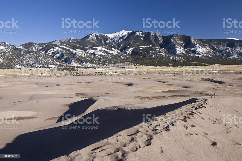 Great Sand Dunes and Mt. Zwischen, Colorado stock photo