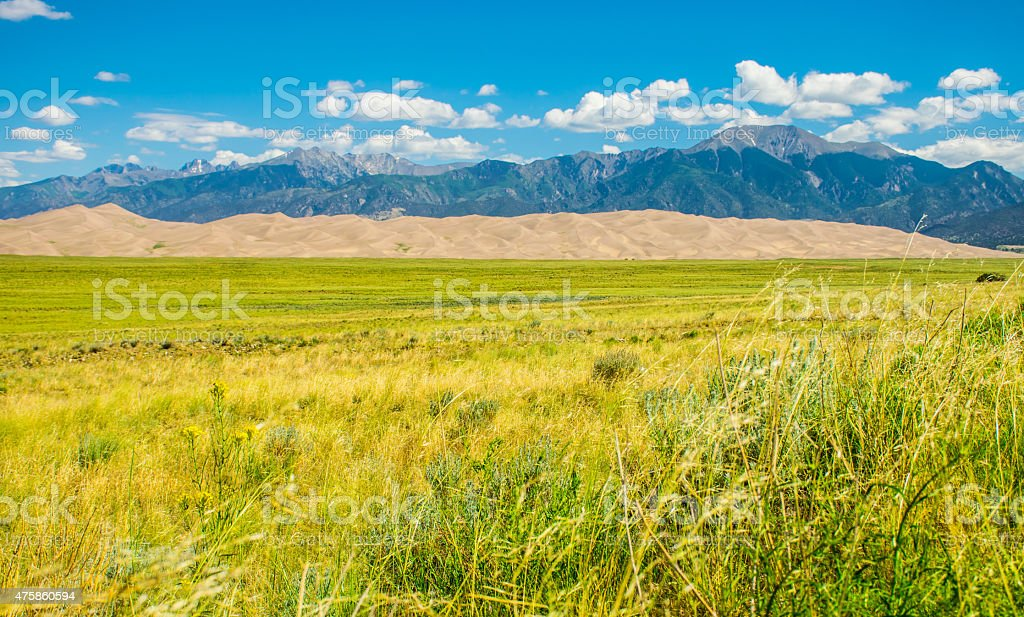 Great Sand Dunes National Park From Across Valley stock photo