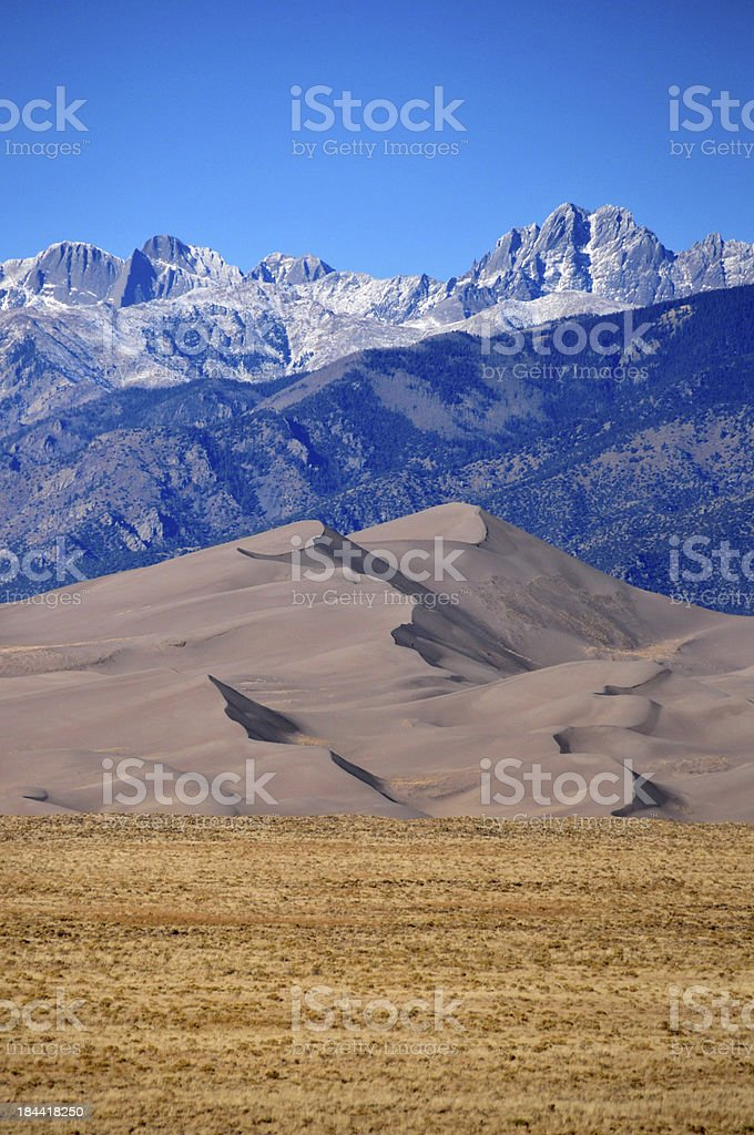 Great Sand Dunes NP: between plain and mountains stock photo