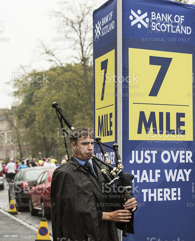Great Scottish Run Bagpiper royalty-free stock photo
