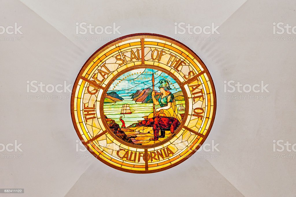 Great Seal of California in Stained Glass inside Capitol building stock photo