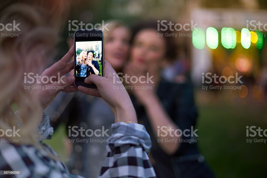 Great selfie from the festival stock photo