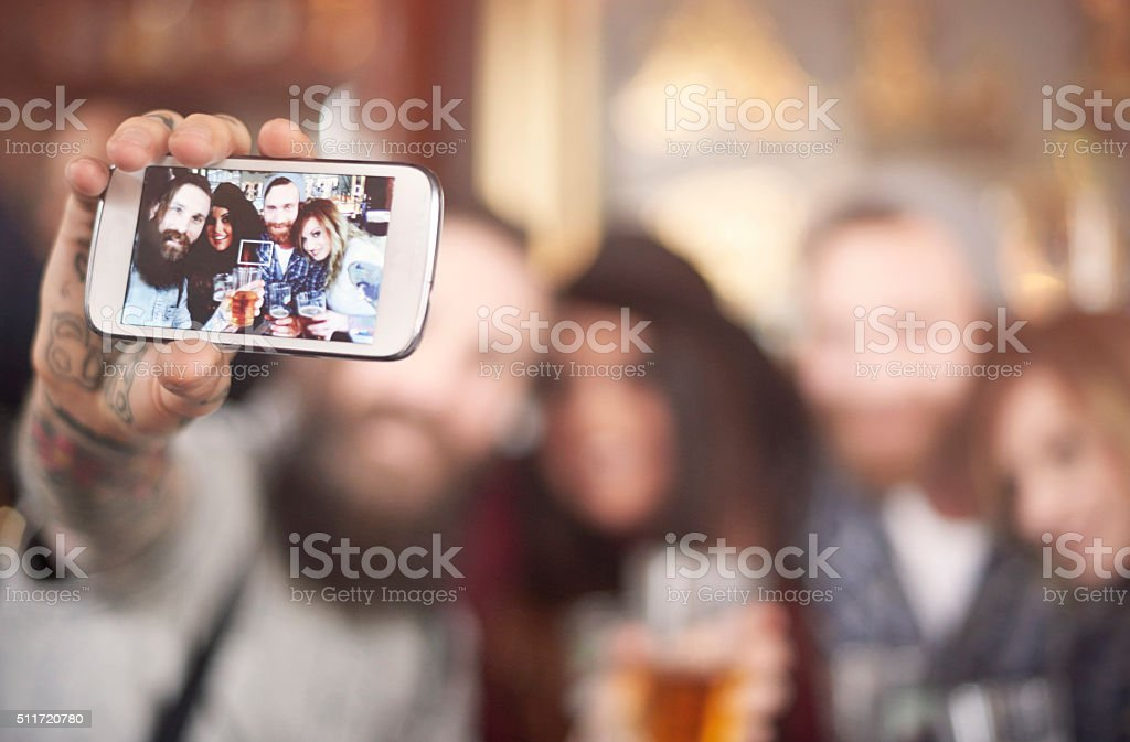 Great selfie of cheerful group of people stock photo