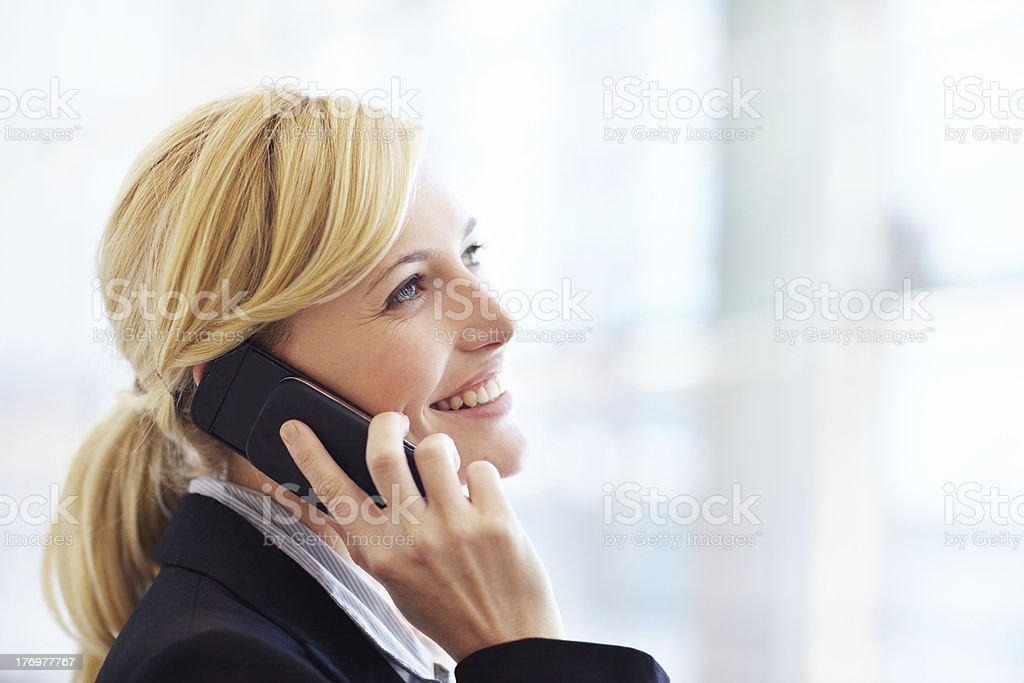 Great service ensures she's always connected royalty-free stock photo