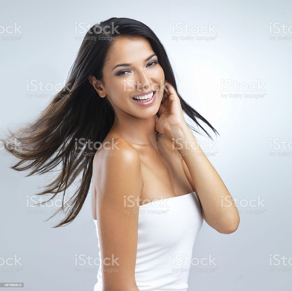 Great skin brings a smile to her face stock photo