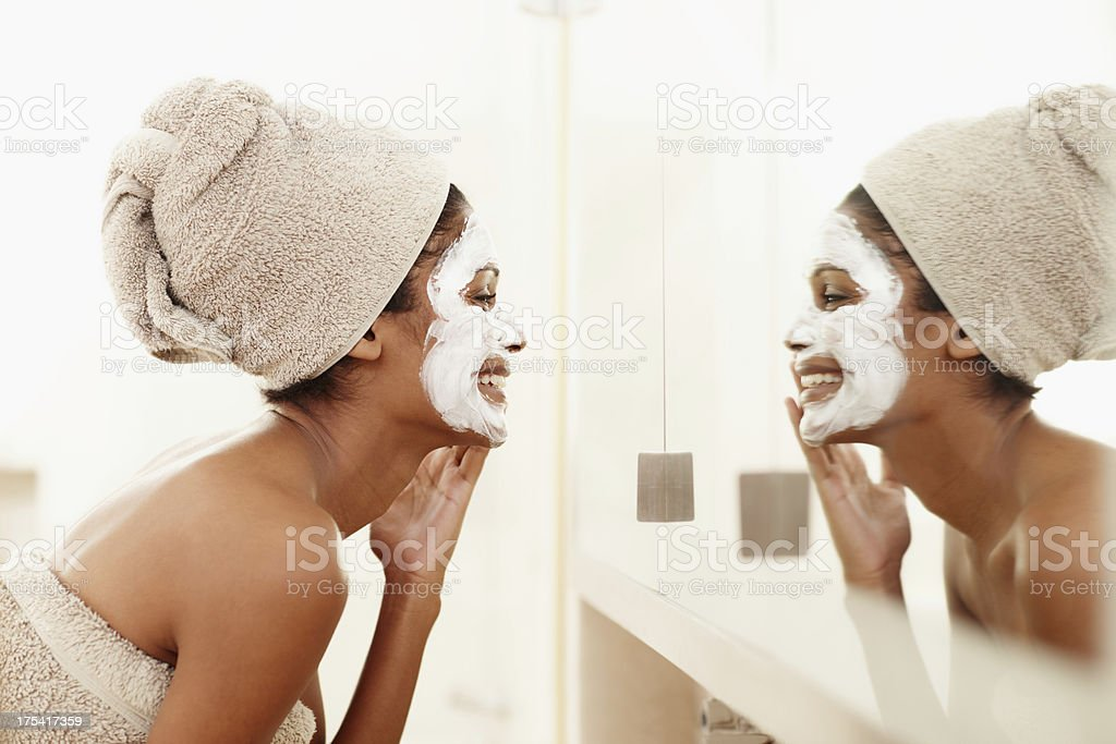 Great skin that makes you smile stock photo