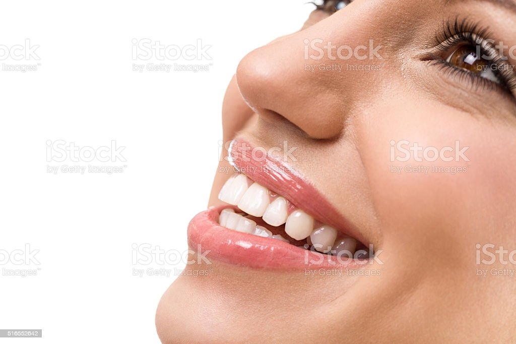 Great smile with straight white teeth stock photo