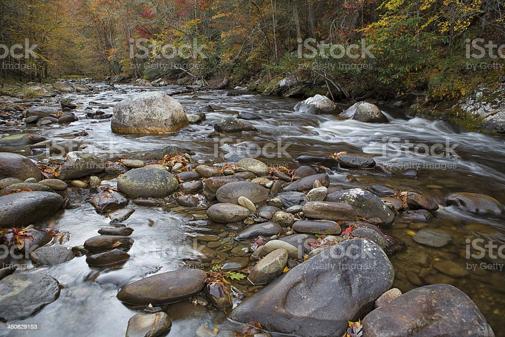 Great Smokey Mountains river in the fall. royalty-free stock photo