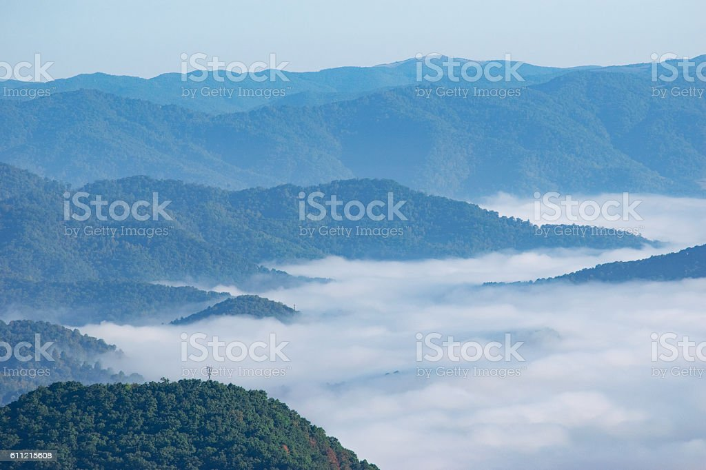 Great Smoky Mountains and Clouds stock photo